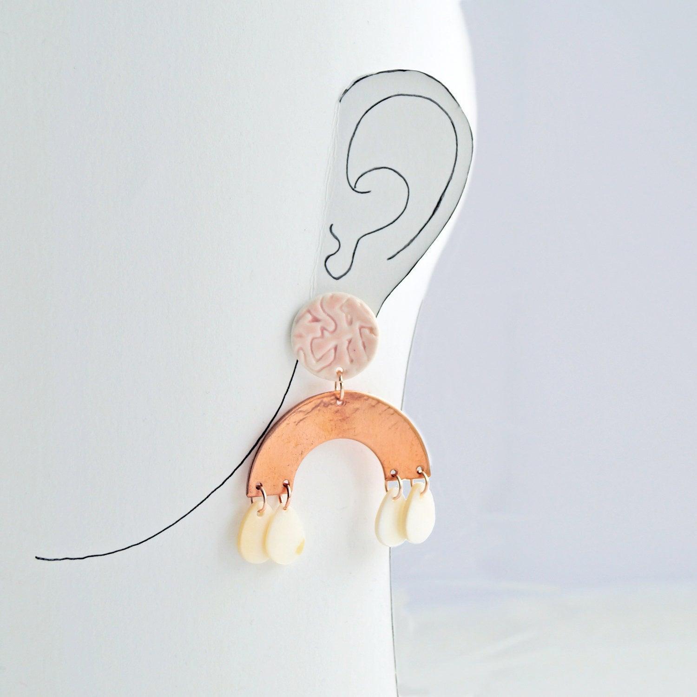 Rainbow Statement Earrings Copper Rainbow Earrings Copper Earrings Rose Gold Earrings Vanillakiln Uk Stud Earrings Pink Copper Porcelain Vanillakiln